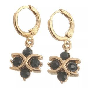BLACK SAPPHIRE GOLD PLATED DANGLE EARRINGS